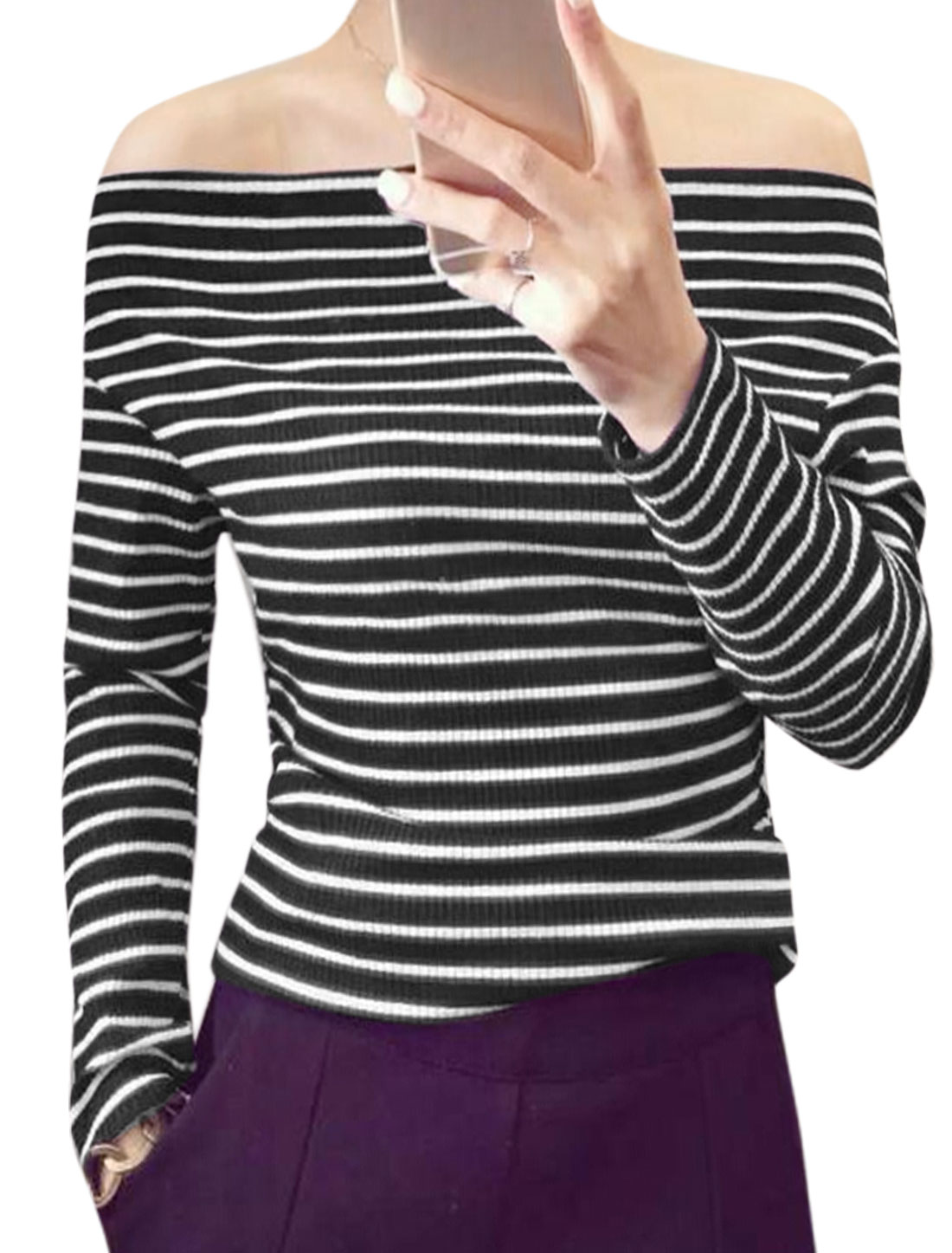 Women Off Shoulder Long Sleeves Ribbing Stripes Slim Fit Top Black XS