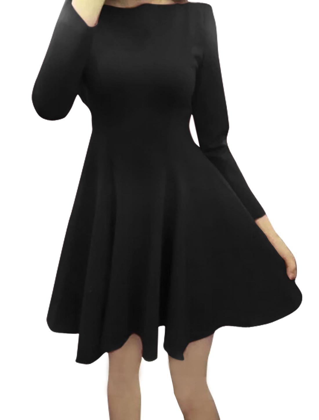 Lady Round Neck Bracelet Sleeves Padded Shoulders Flared Short Dress Black S