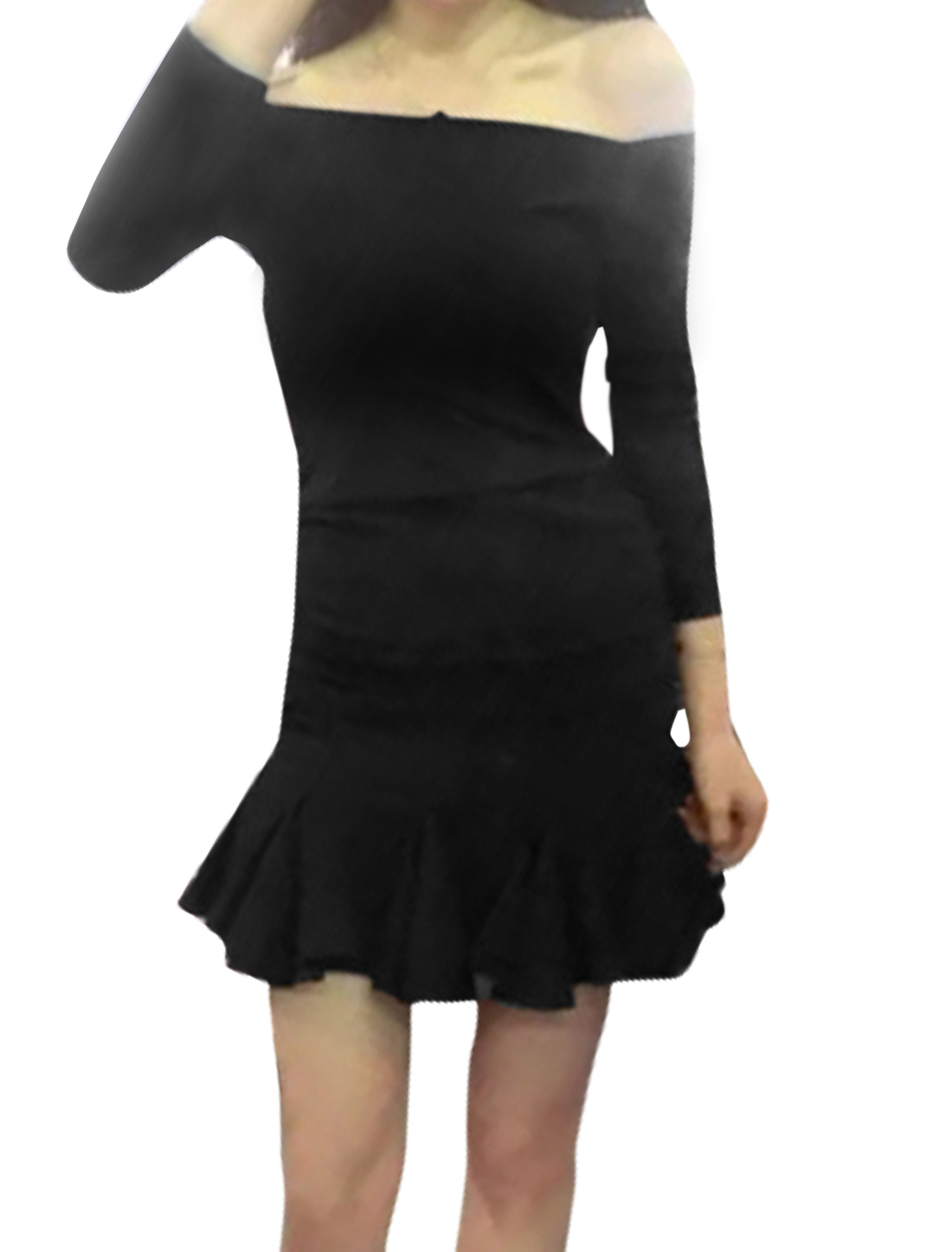 Women Off the Shoulder Gathered Flouncing Hem Sheath Dress Black M