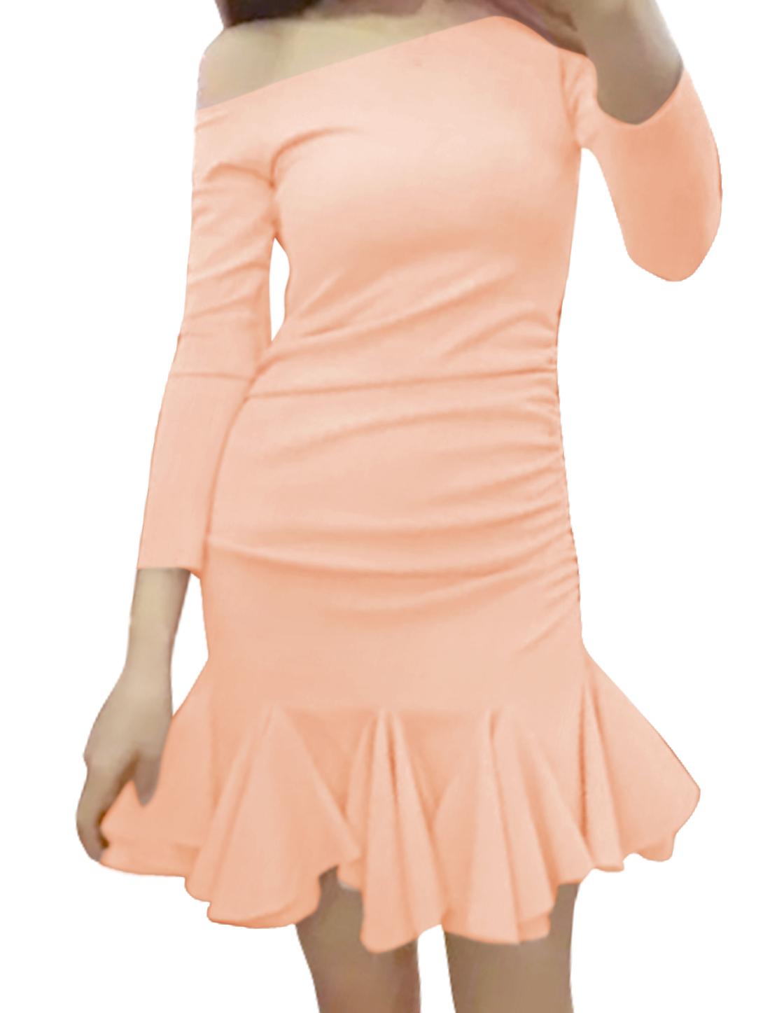 Women Off the Shoulder Bracelet Sleeves Flouncing Hem Slim Fit Dress Pink M