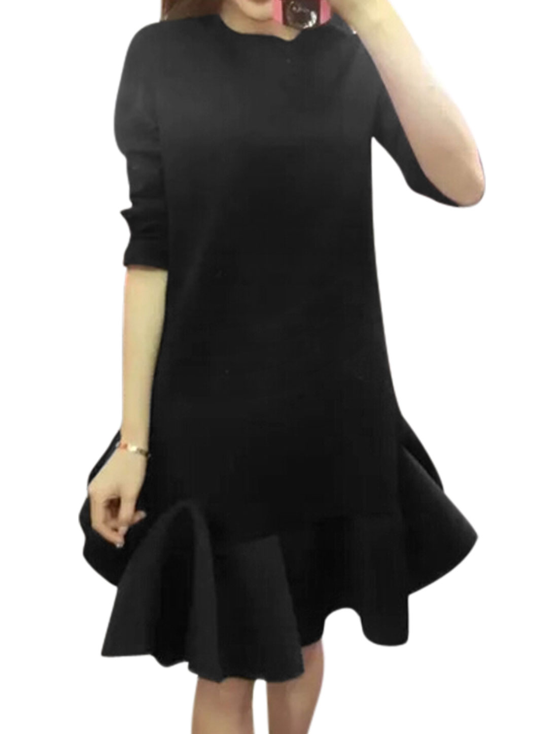 Women Crew Neck Long Sleeves Asymmetric Flouncing Hem Tunic Dress Black XS