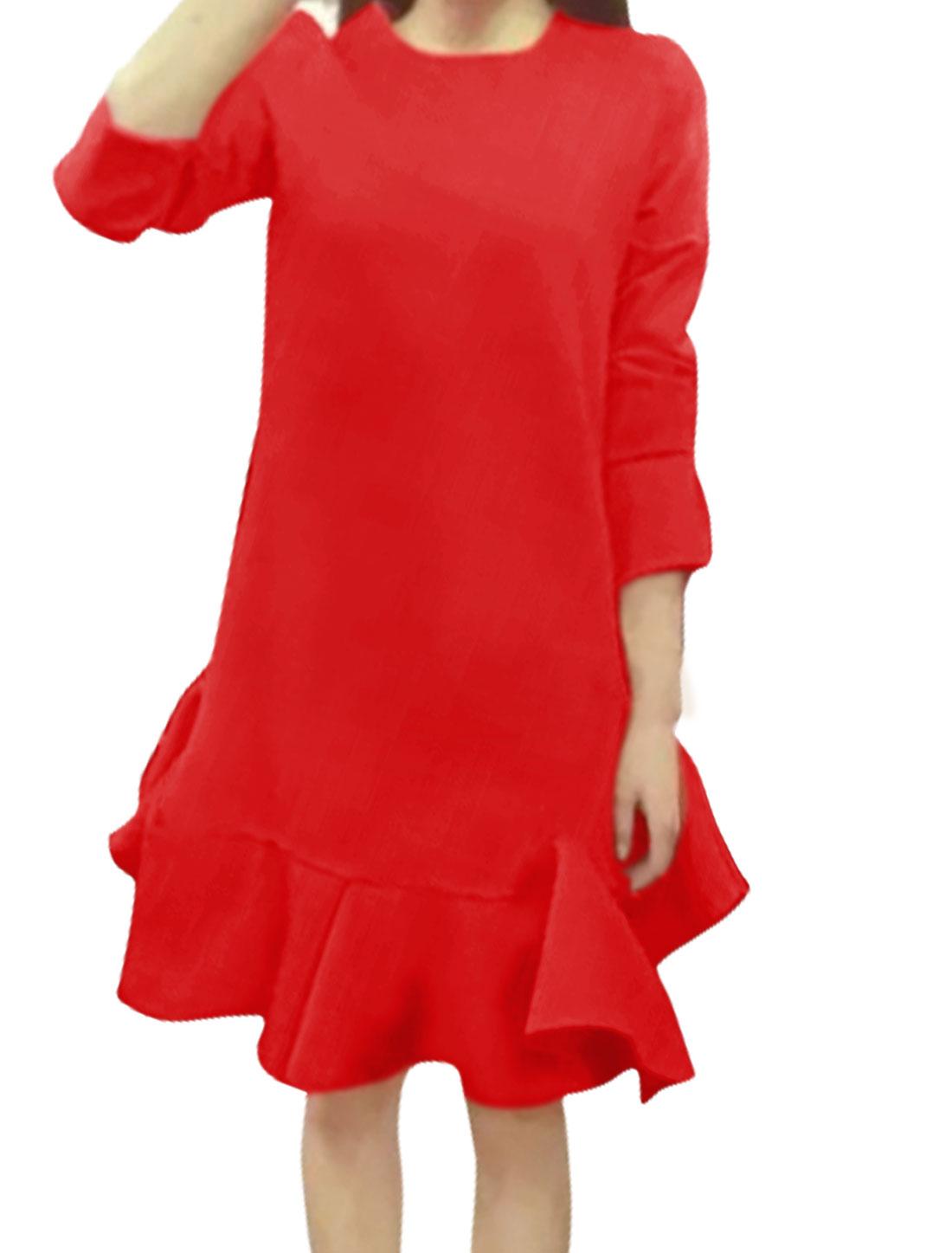 Women Long Sleeves Asymmetric Flouncing Hem Above Knee Dress Red XS