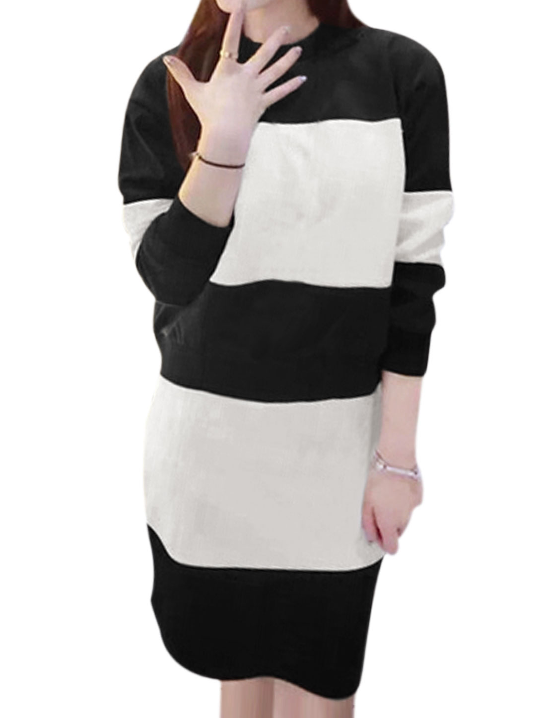 Lady Crew Neck Sweatshirt w Color Block Straight Skirt Sets White XS