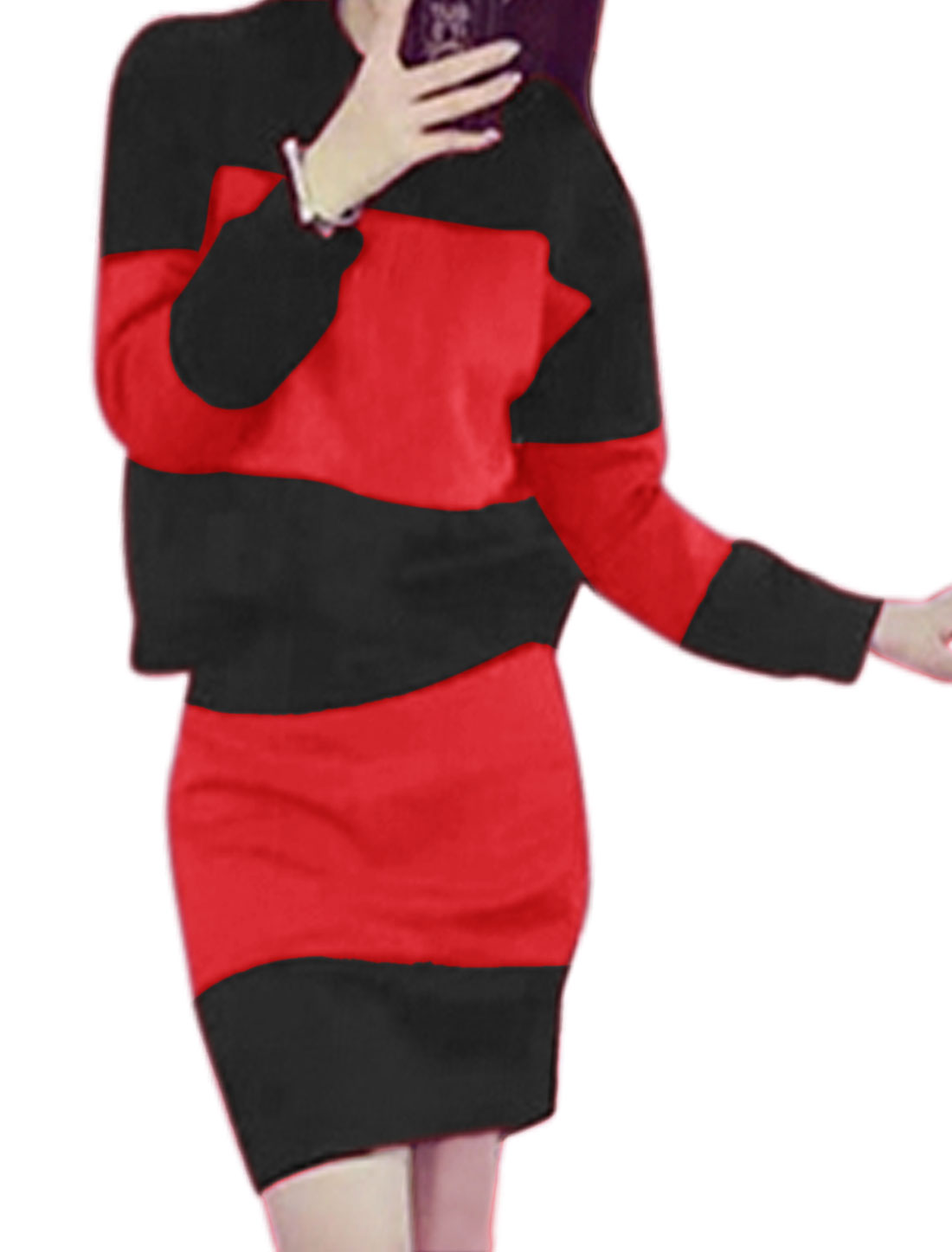 Lady Color Block Sweatshirt w High Waist Casual Skirt Sets Red XS