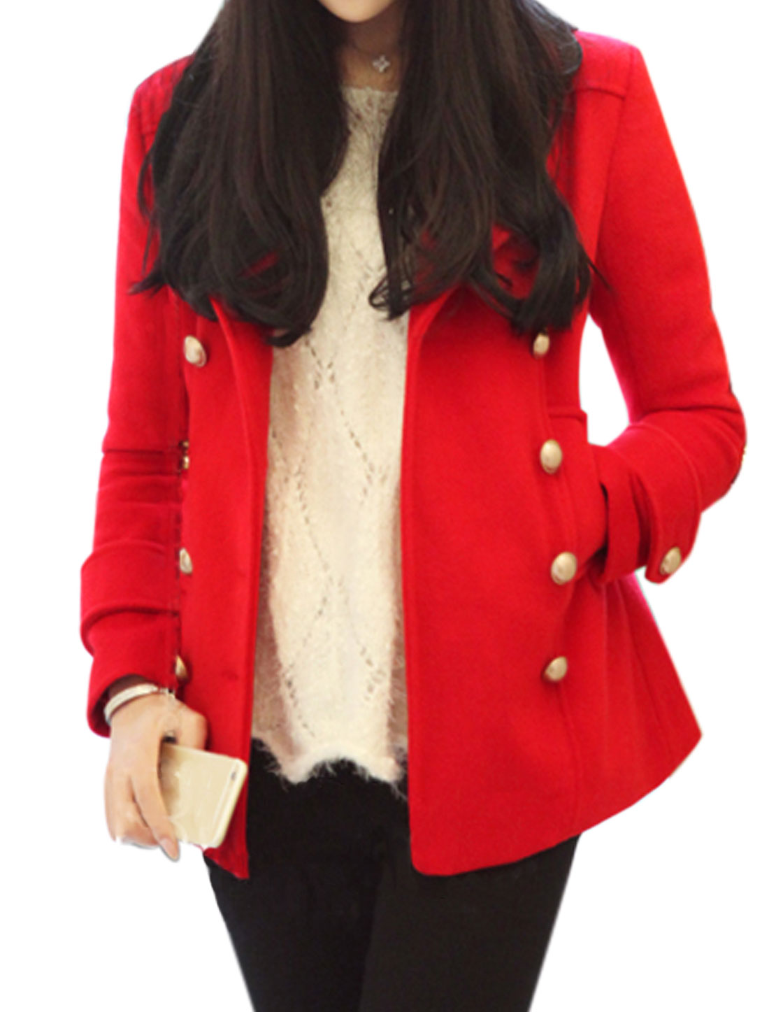 Women Turn Down Collar Double Breasted Casual Worsted Coat Red XS