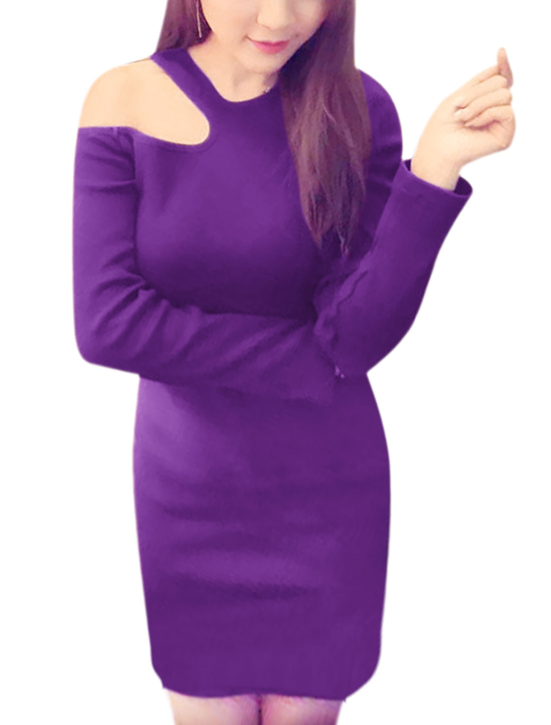 Ladies Long Sleeves Cut Out Shoulder Ribbing Mini Dress Purple XS