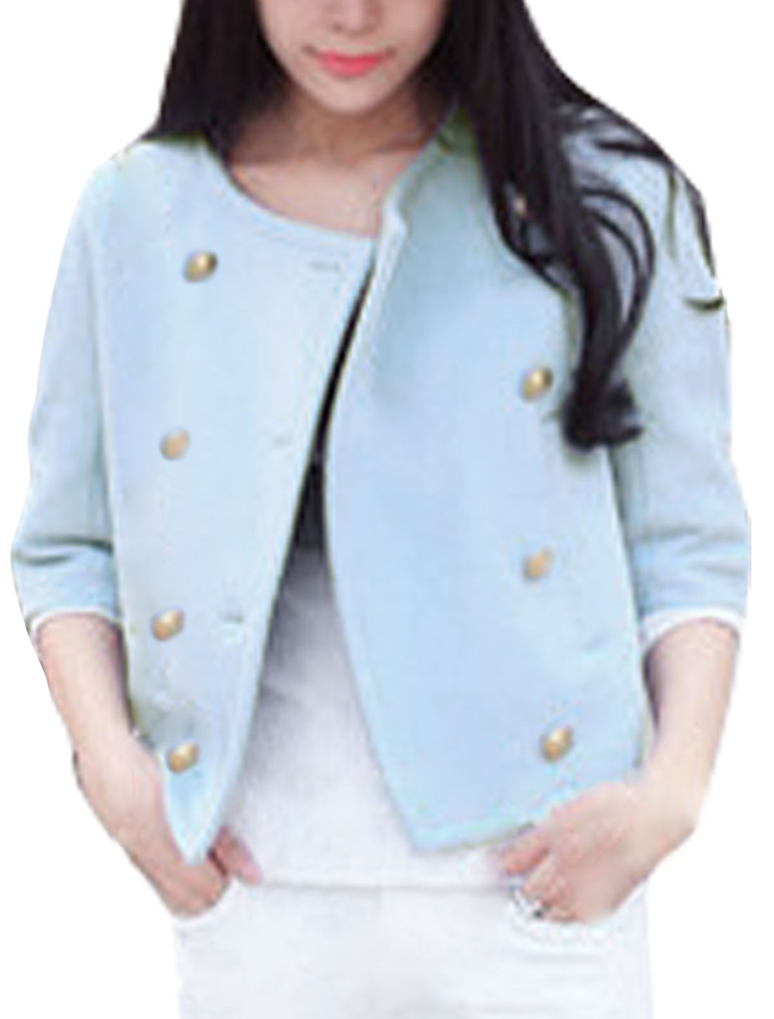 Women 1/2 Sleeves Double Breasted Casual Crop Worsted Coat Blue XS
