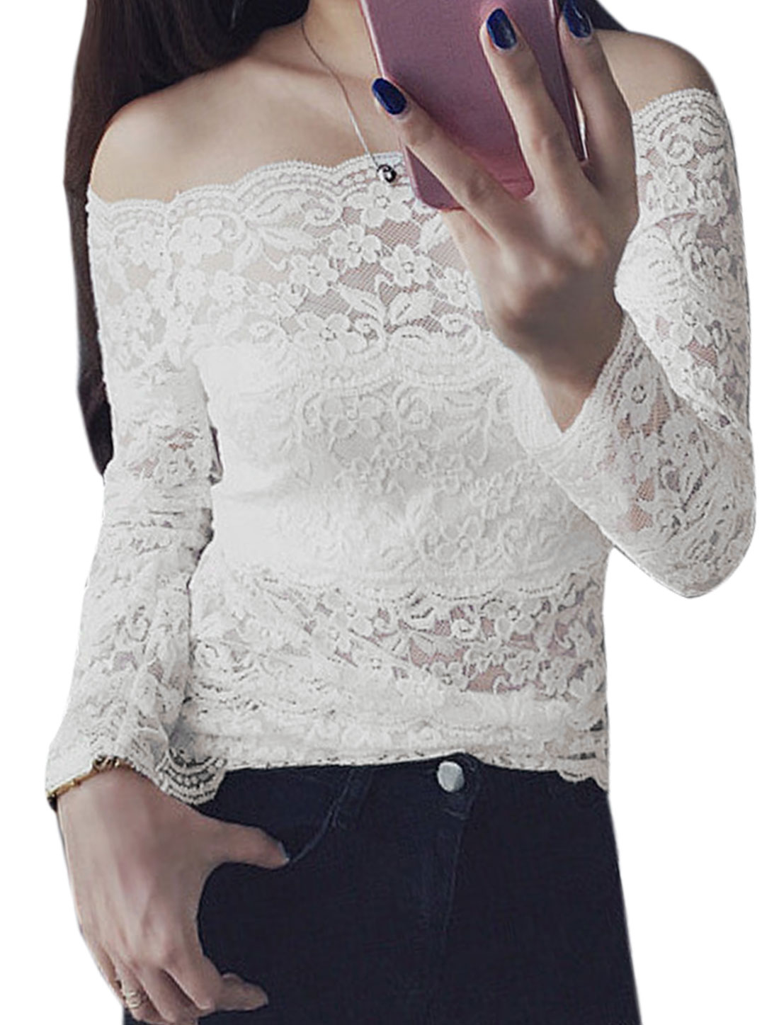 Women Off the Shoulder Long Sleeves Floral Design Lace Slim Fit Top White XS