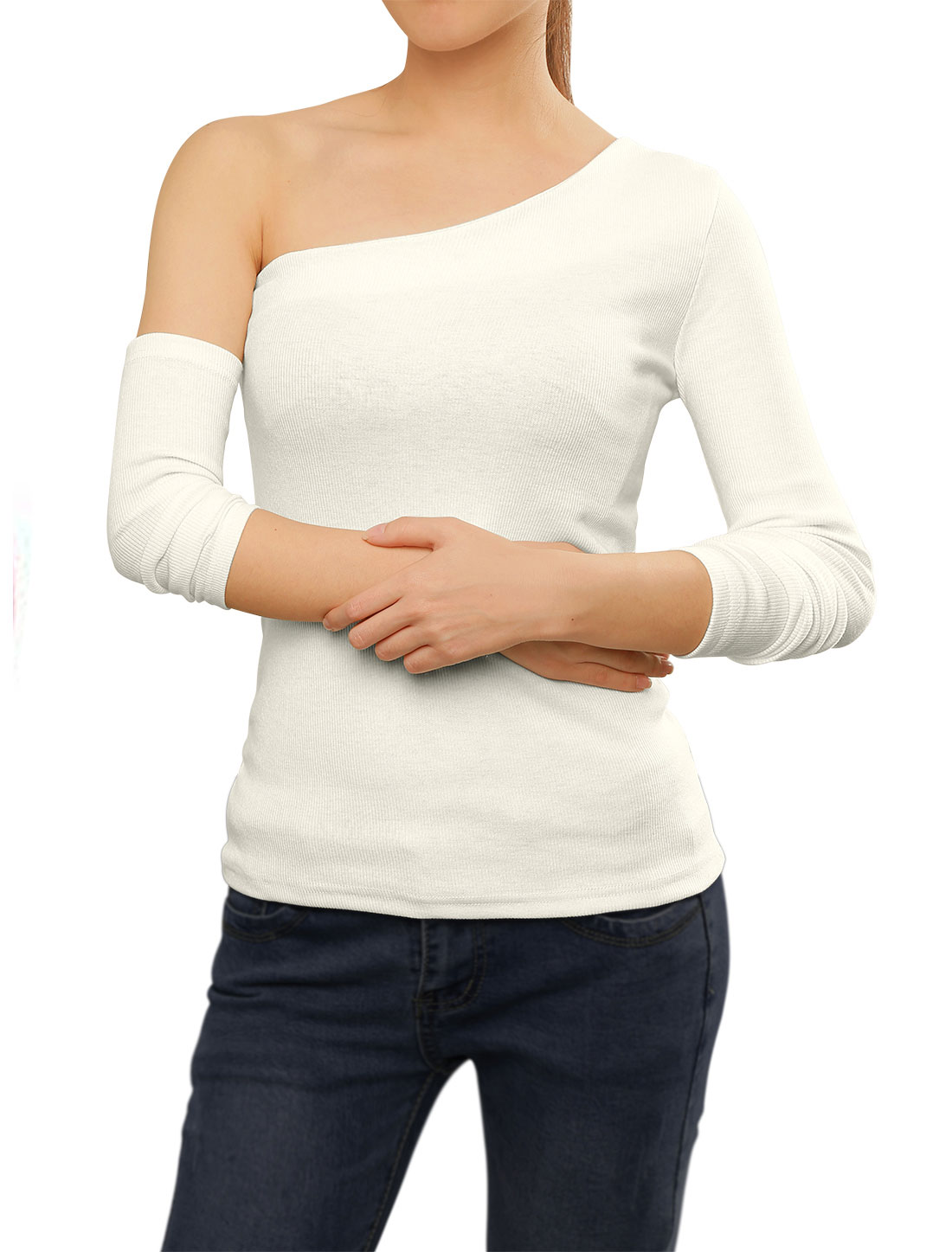 Women One Shoulder Long Sleeves Ribbed T-Shirt w Arm Warmer White XS