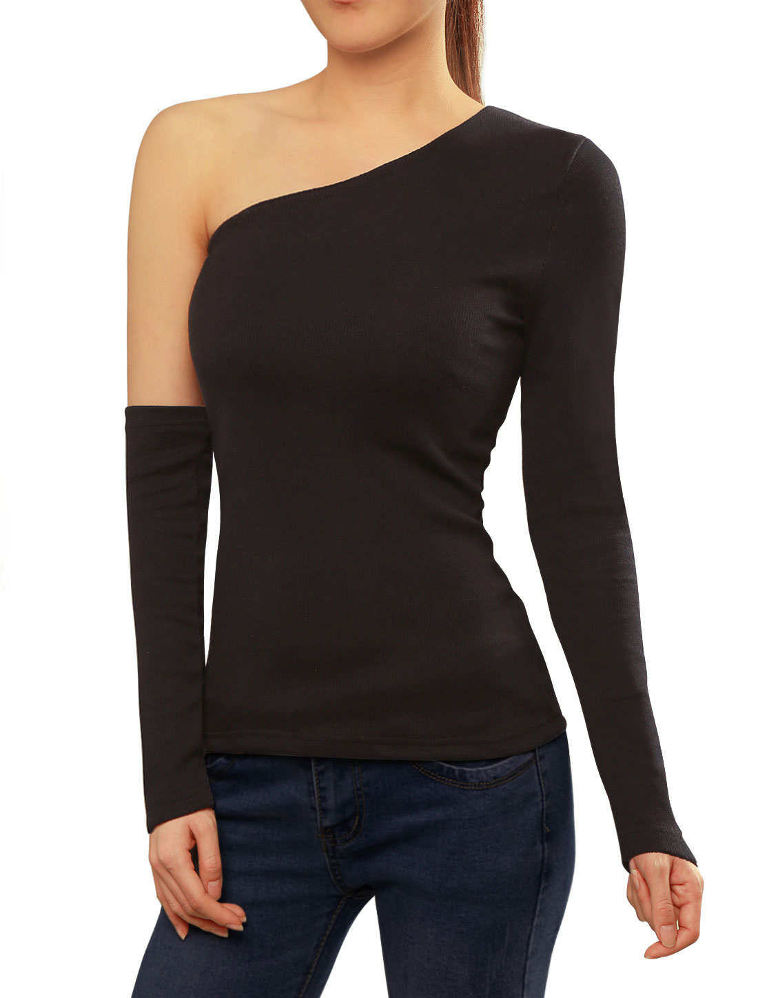 Women One Shoulder Ribbed Slim Fit Casual Tee w Arm Warmer Black XS