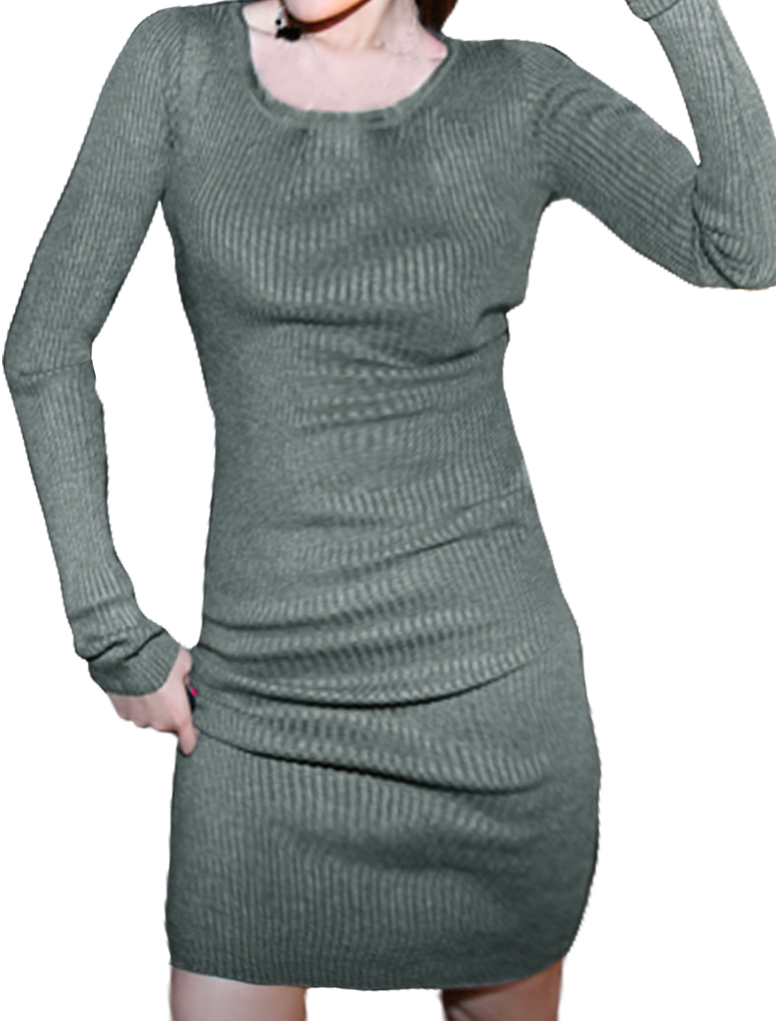 Women Round Neck Long Sleeves Pullover Ribbed Sheath Dress Gray XS