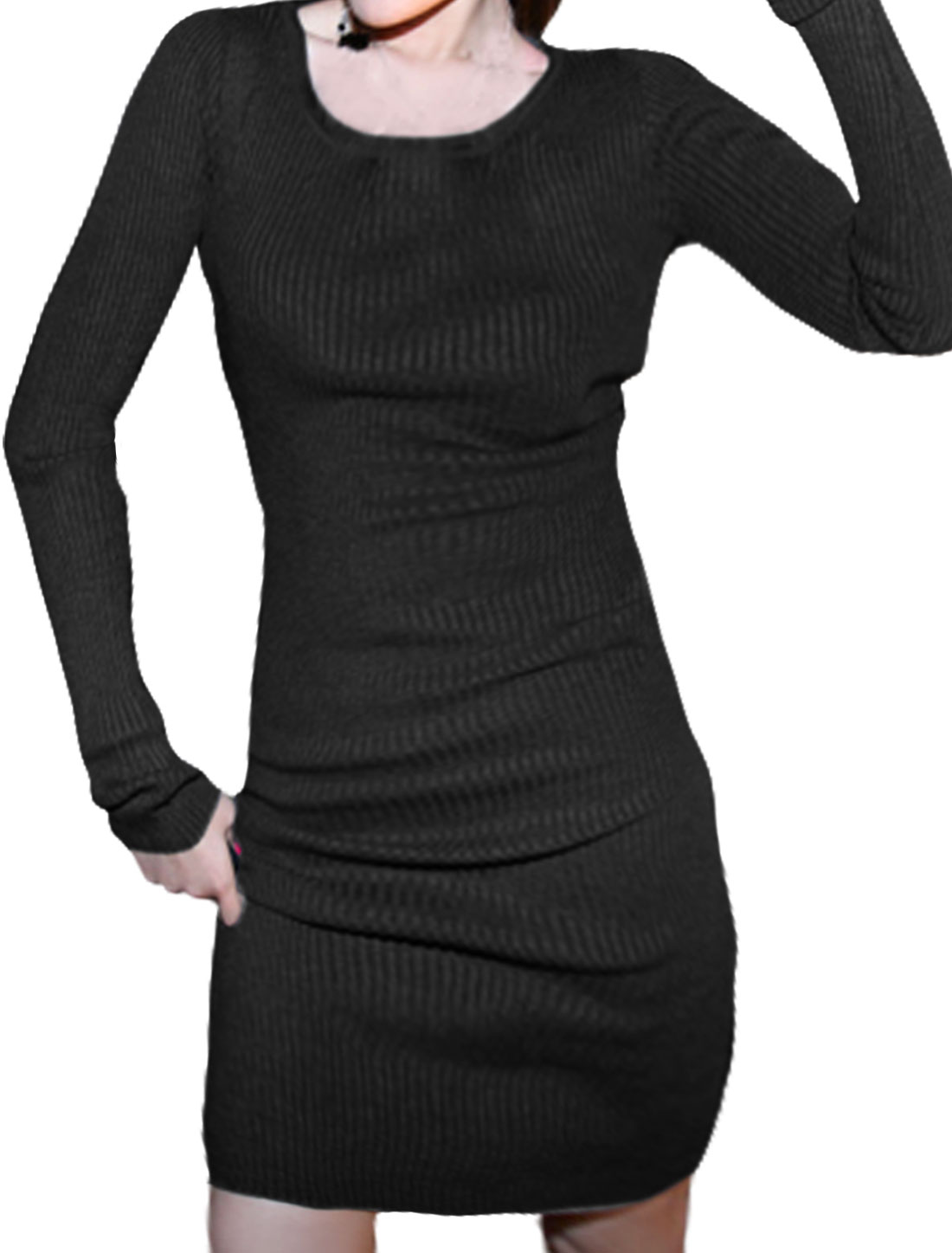 Women Round Neckline Long Sleeves Ribbing Slim Fit Dress Black XS