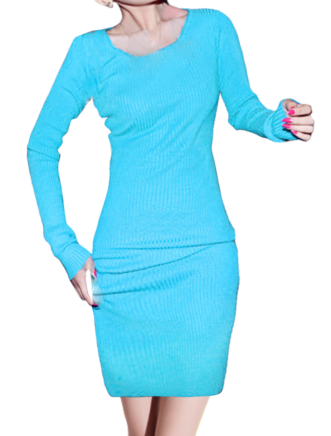 Ladies Long Sleeves Pullover Slim Fit Unlined Casaul Dress Blue XS