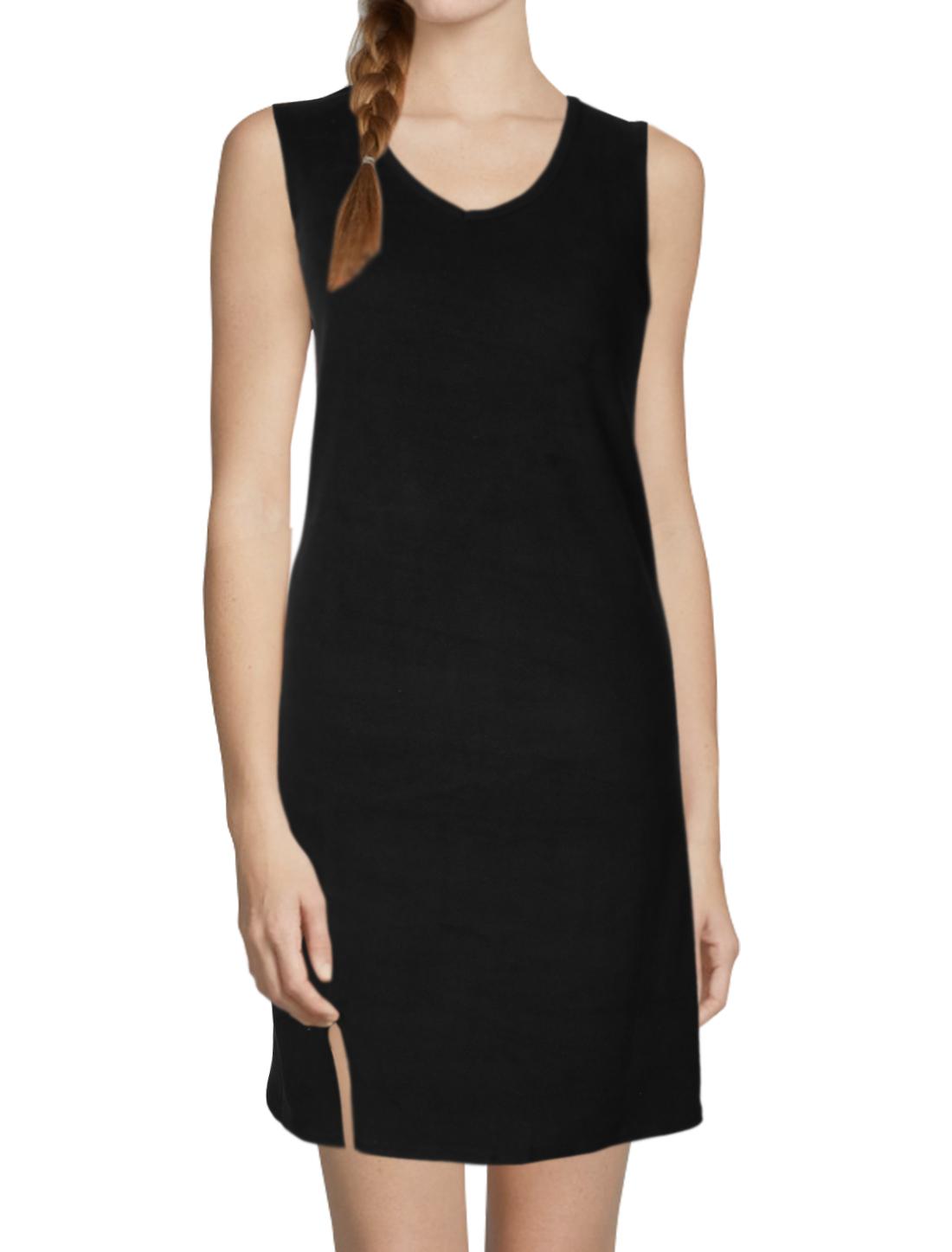 Women V Neck Sleeveless Split Front Tunic Dress Black XS