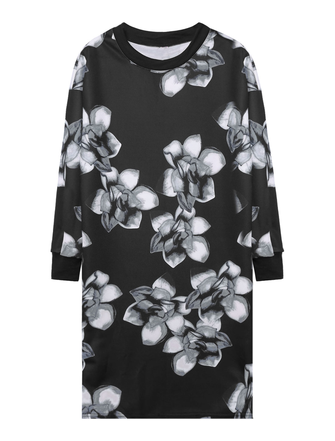 Women Crew Neck Long Sleeves Floral Prints Loose Sweatshirt Dress Black S