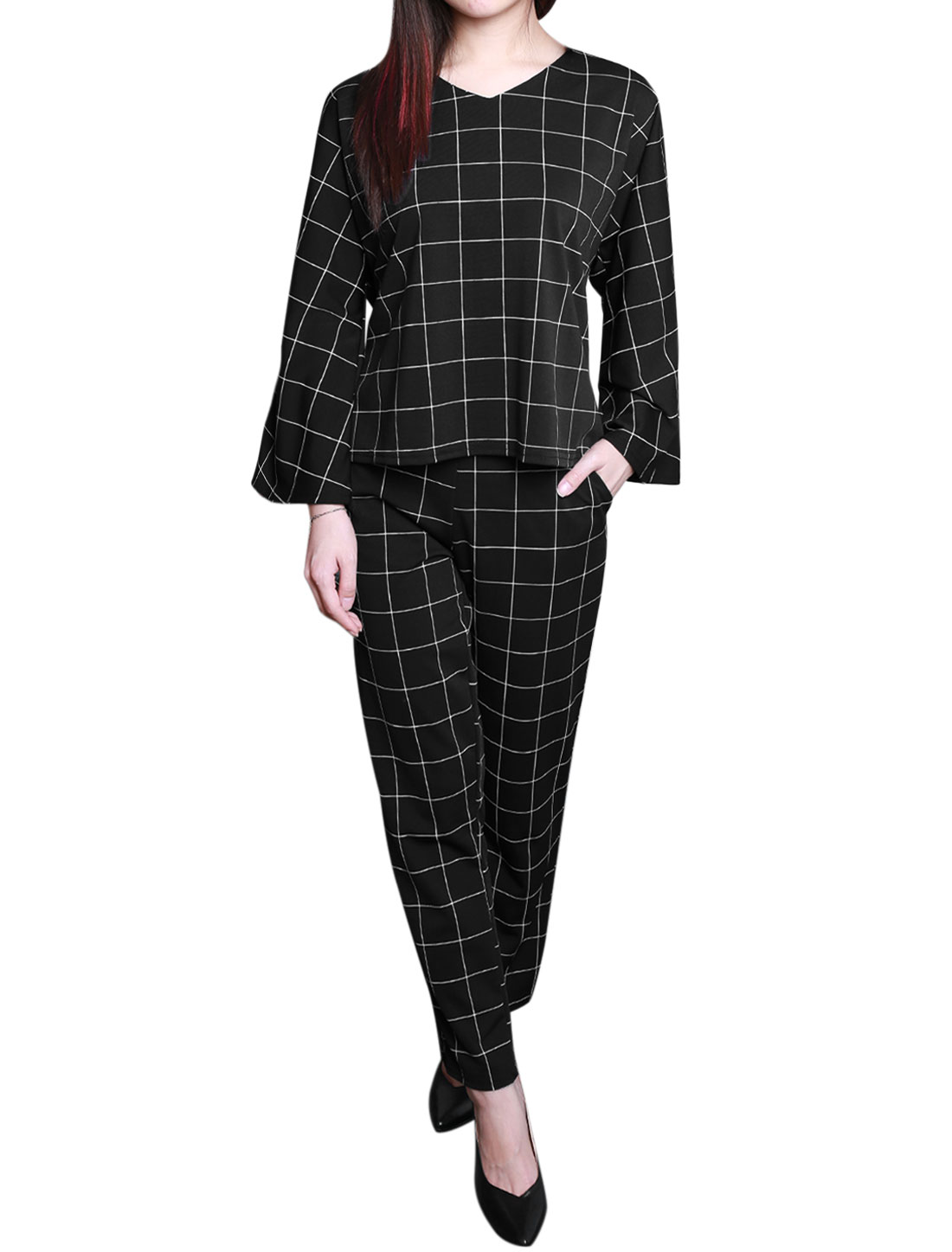 Women V Neck Dolman Sleeves Top w Plaids Casual Pants Sets Black XS