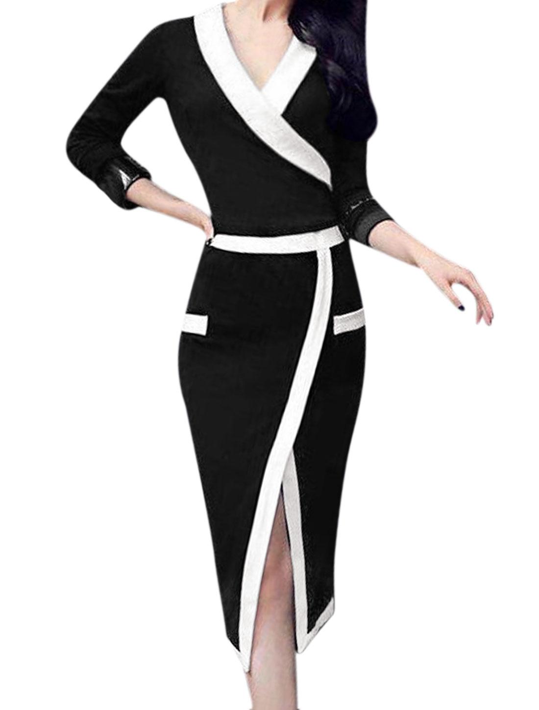 Women Deep V Neckline Contrast Color Front Split Wiggle Dress Black XS