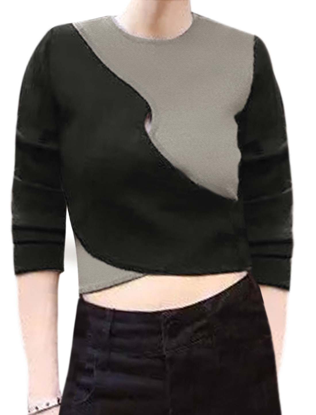 Women Long Sleeves Color Block Cut Out Front Crossover Design Crop Top Black XS