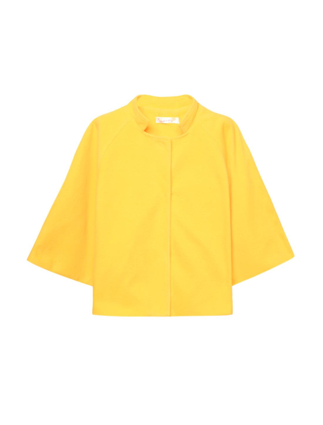 Women 3/4 Sleeves Single Breasted Cropped Worsted Coat Yellow XS