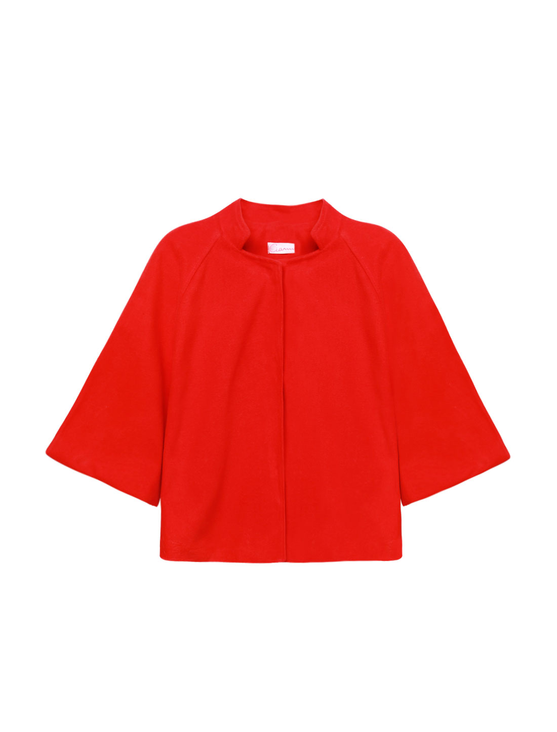Women Stand Collar Raglan Sleeves Casual Worsted Poncho Red XS