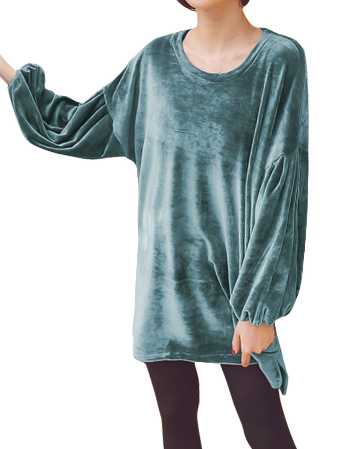 Women Round Neck Long Bishop Sleeves High Low Hem Loose Velvet Tunic Top Blue XS