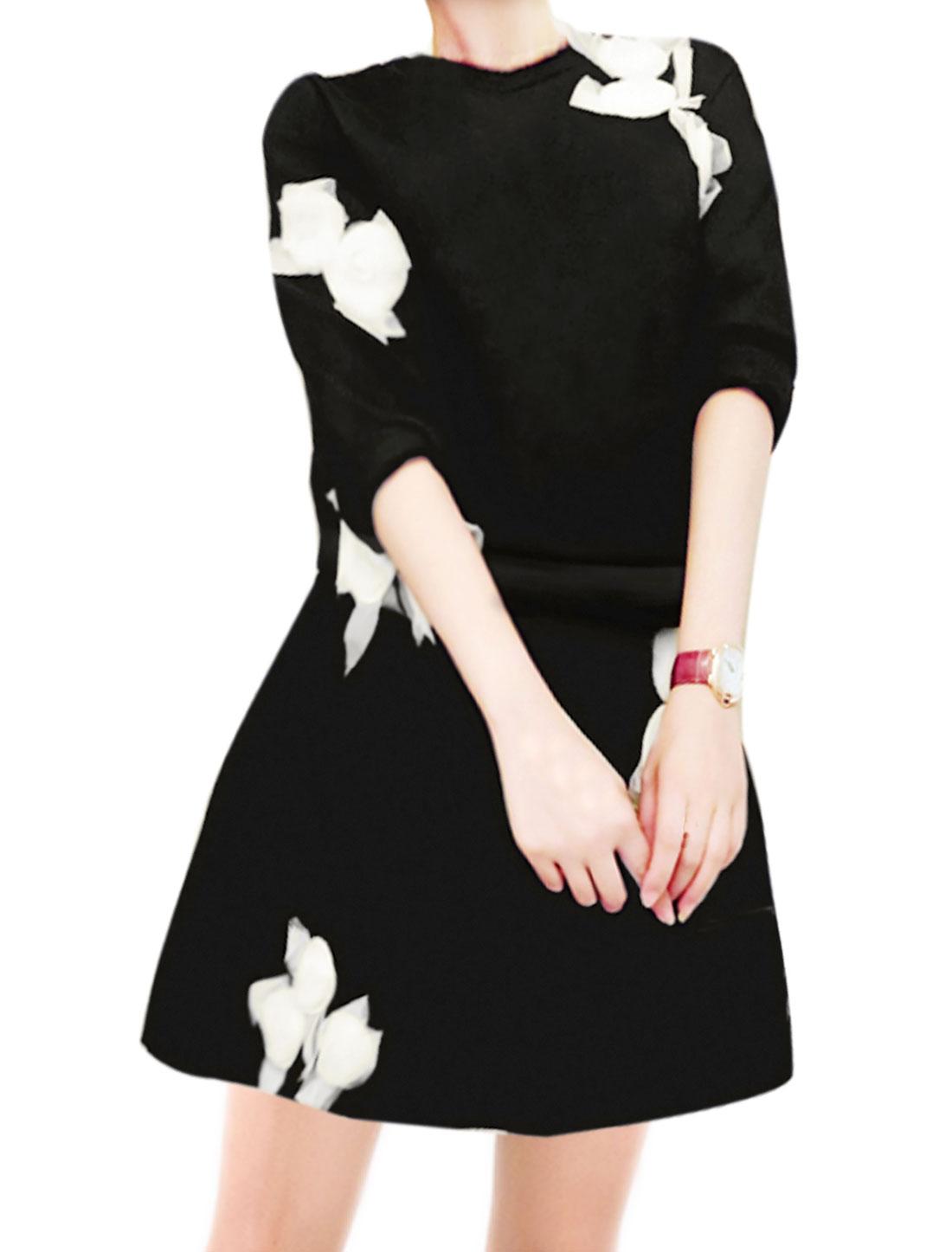 Women Crew Neck Mesh Flower Decor Sweatshirt w High Waist A Line Skirt Black S
