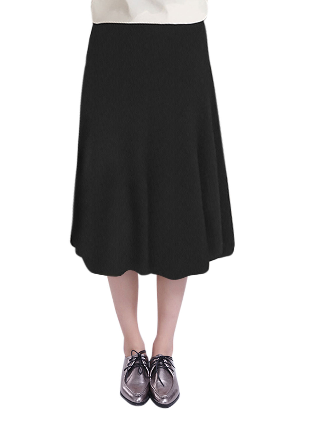 Ladies High Waist Ribbed Design Loose Casual Midi Skirt Black XS