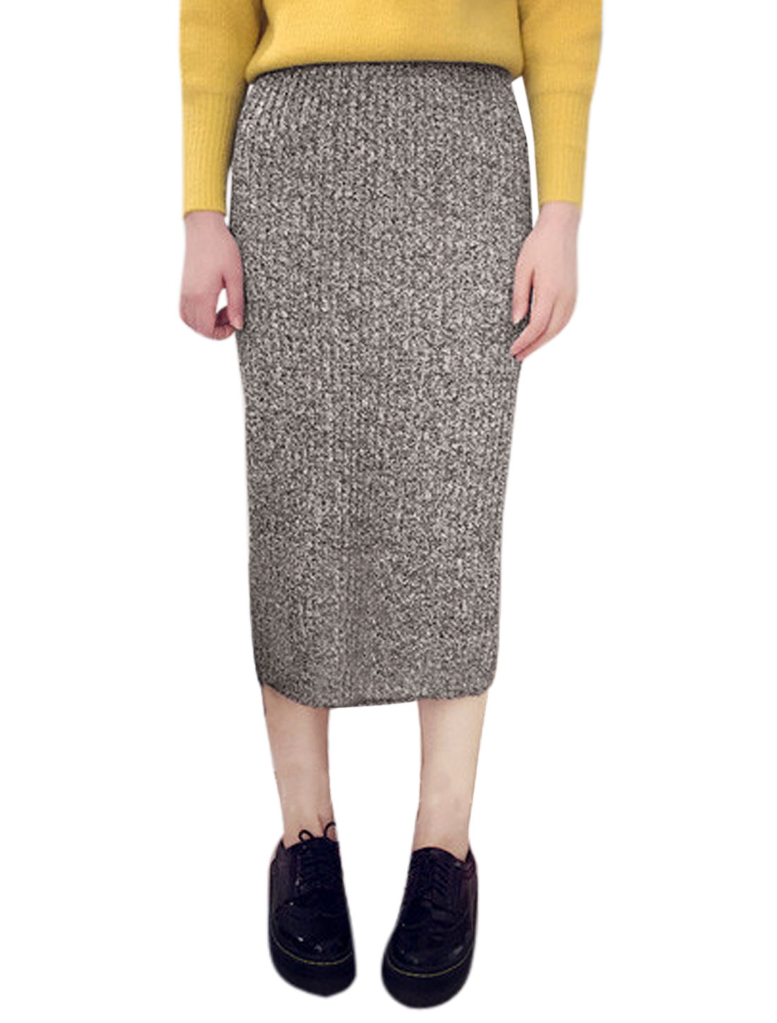 Women Elastic Waist Slim Fit Ribbed Below Knee Knit Straight Skirt Gray XS