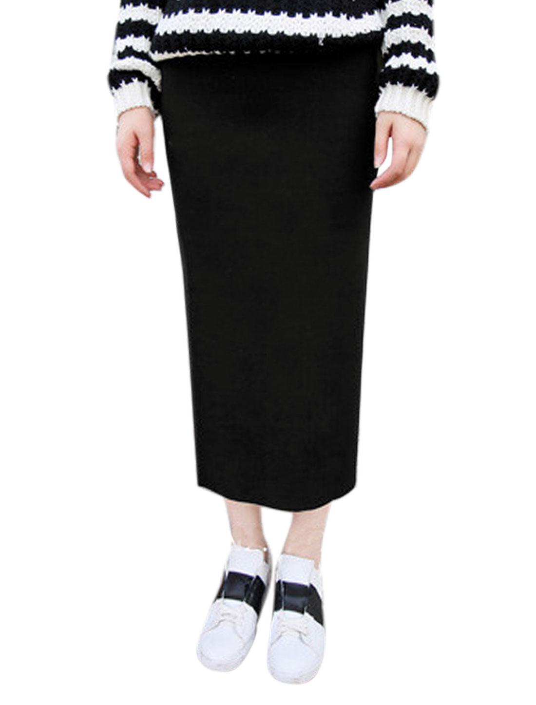 Women Hidden Zipper Side Slim Fit Casual Below Knee Straight Skirt Black XS