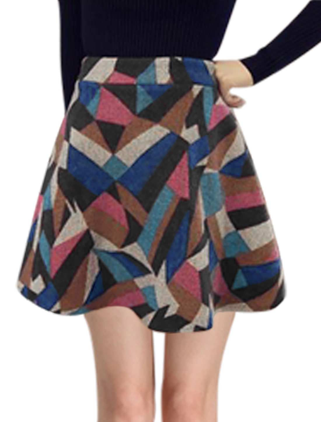Women Geometric Prints Contrast Color Worsted A Line Skirt Multi-Color S