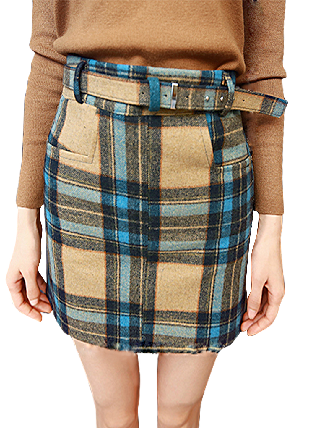 Women High Waist Plaids Unlined Worsted Pencil Skirt w Belt Blue S