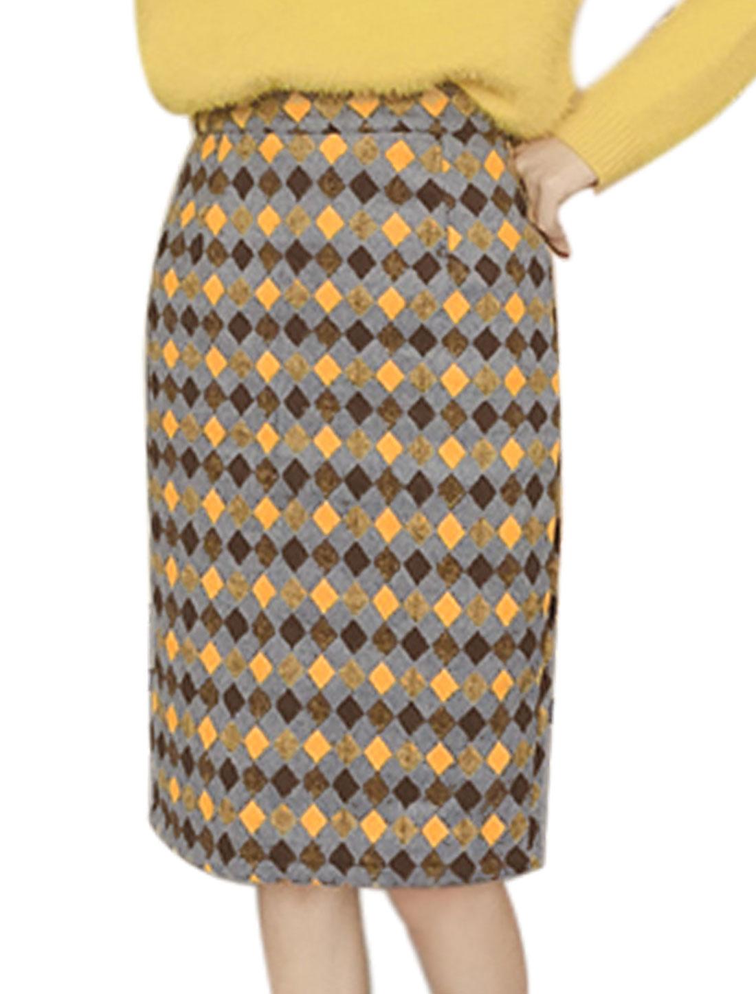 Women High Waist Plaids Split Back Worsted Straight Skirt Gray S