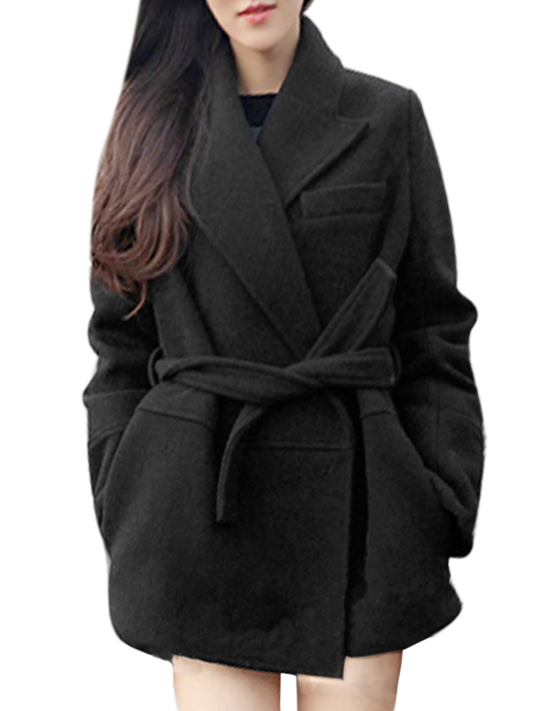 Women Turn Down Collar Open Front Tunic Worsted Coat w Belt Black S