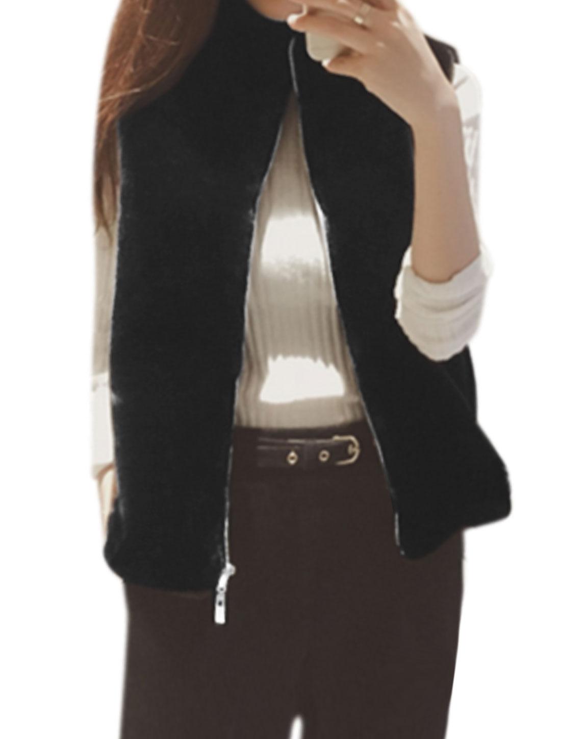 Women Stand Collar Sleeveless Zip Up Drawstring Hem Casual Plush Vest Black XS