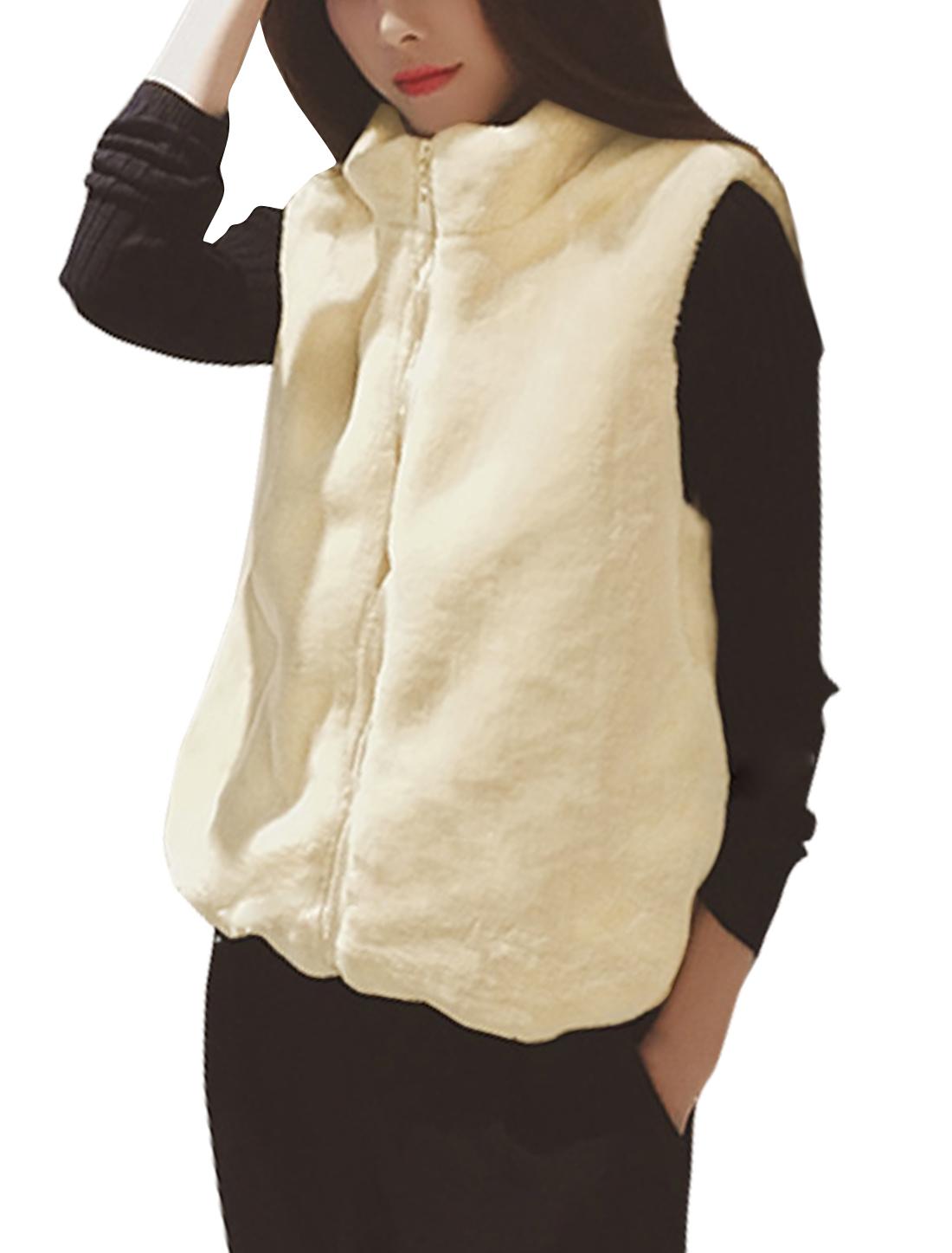 Women Stand Collar Zip Closure Drawstring Hem Plush Sleeveless Coat Beige XS