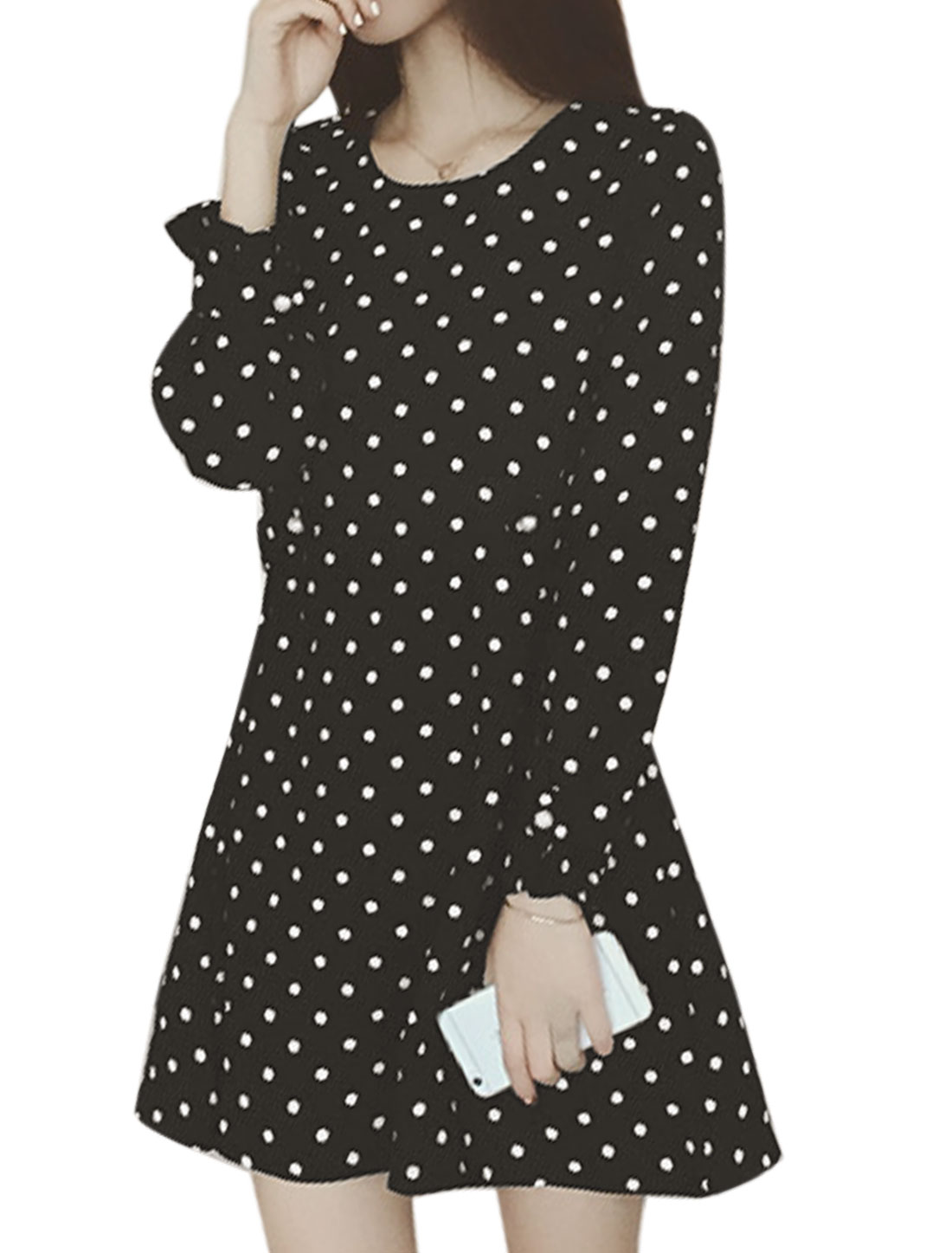 Women Long Sleeves Dots Button Tabs Design Casual Dress Black S