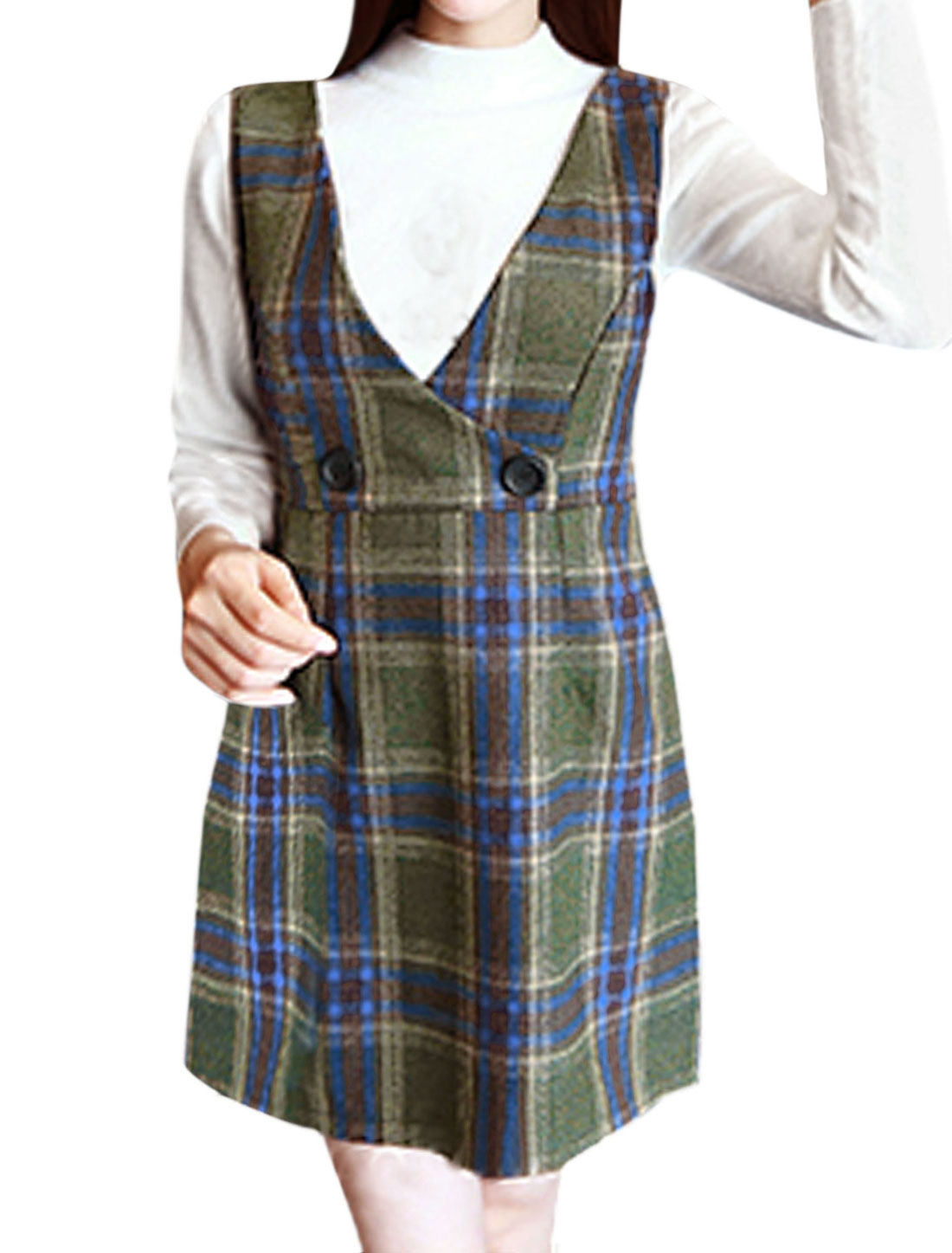 Women Buttons Decor Worsted Plaids Suspender Skirt Army Green XS