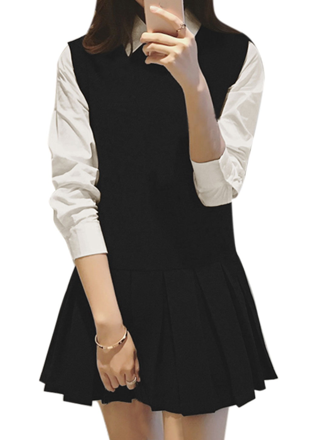 Women Point Collar Pleated Layered Worsted Shirt Dress Black S