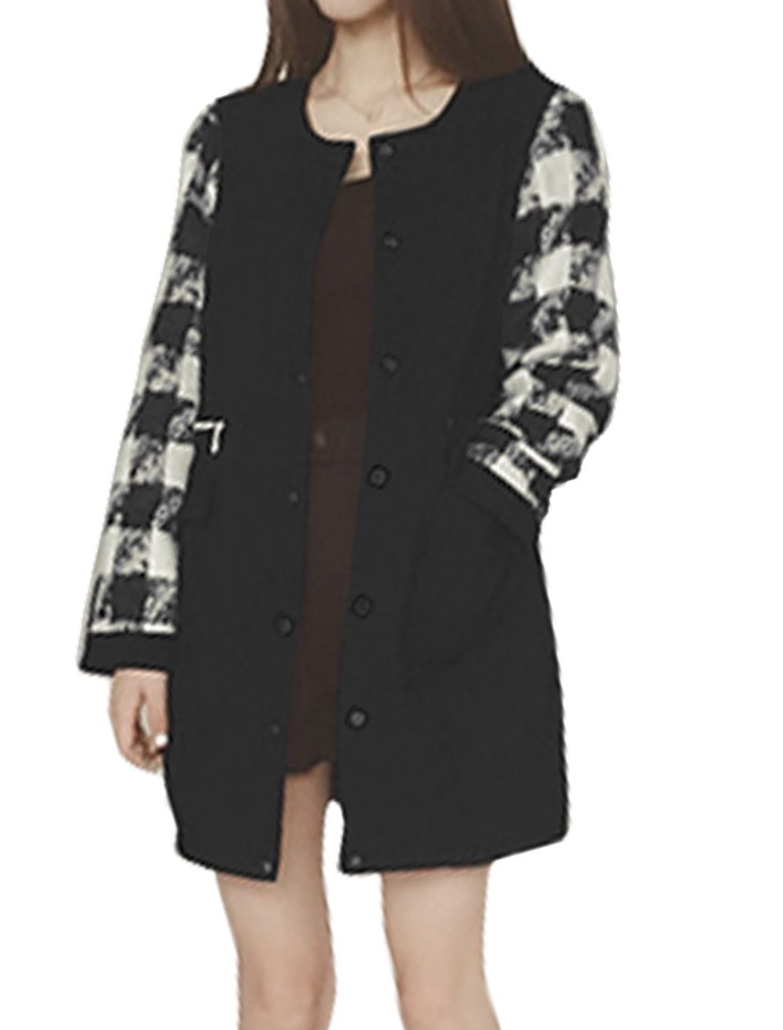Women Round Neck Button Closed Plaids Tunic Worsted Coat Black XS