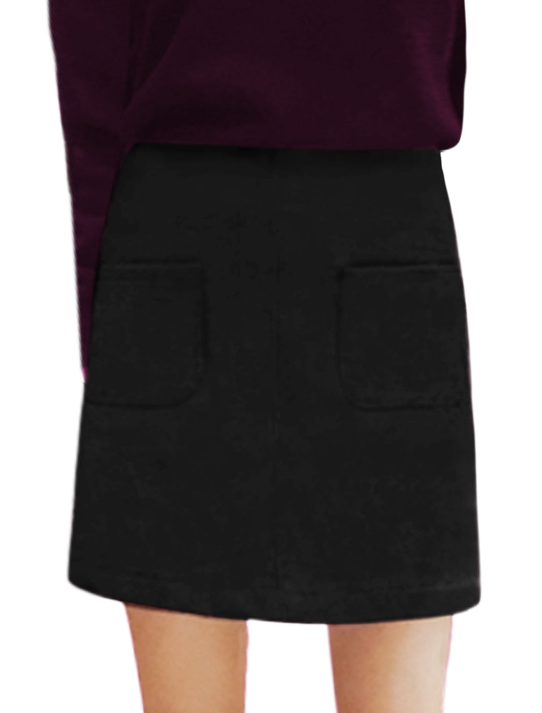 Women High Rise Front Pockets Unlined Above Knee Skirt Black M
