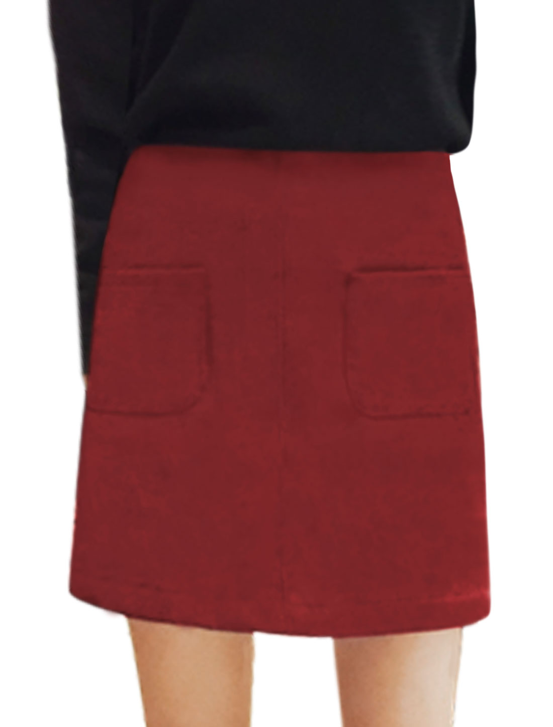 Ladies High Waist Double Pockets Front Unlined Casual Skirt Red M