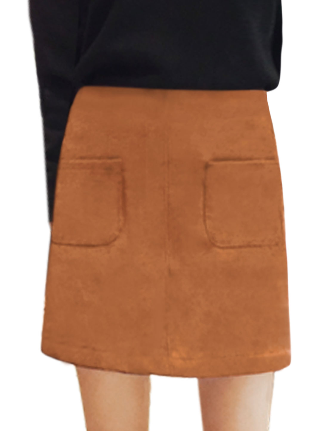 Ladies High Rise Dual Pockets Front A Line Leisure Skirt Brown M