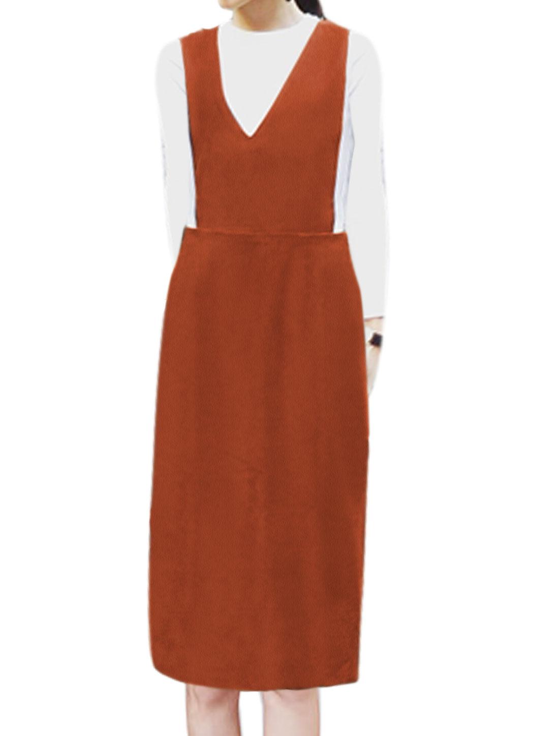 Women V Neck Sleeveless Split Back Casual Suspender Skirt Brown XS