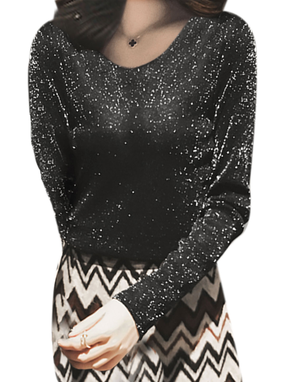 Women Round Neck Long Sleeves Bling Slim Fit Casual Tee Shirt Black XS