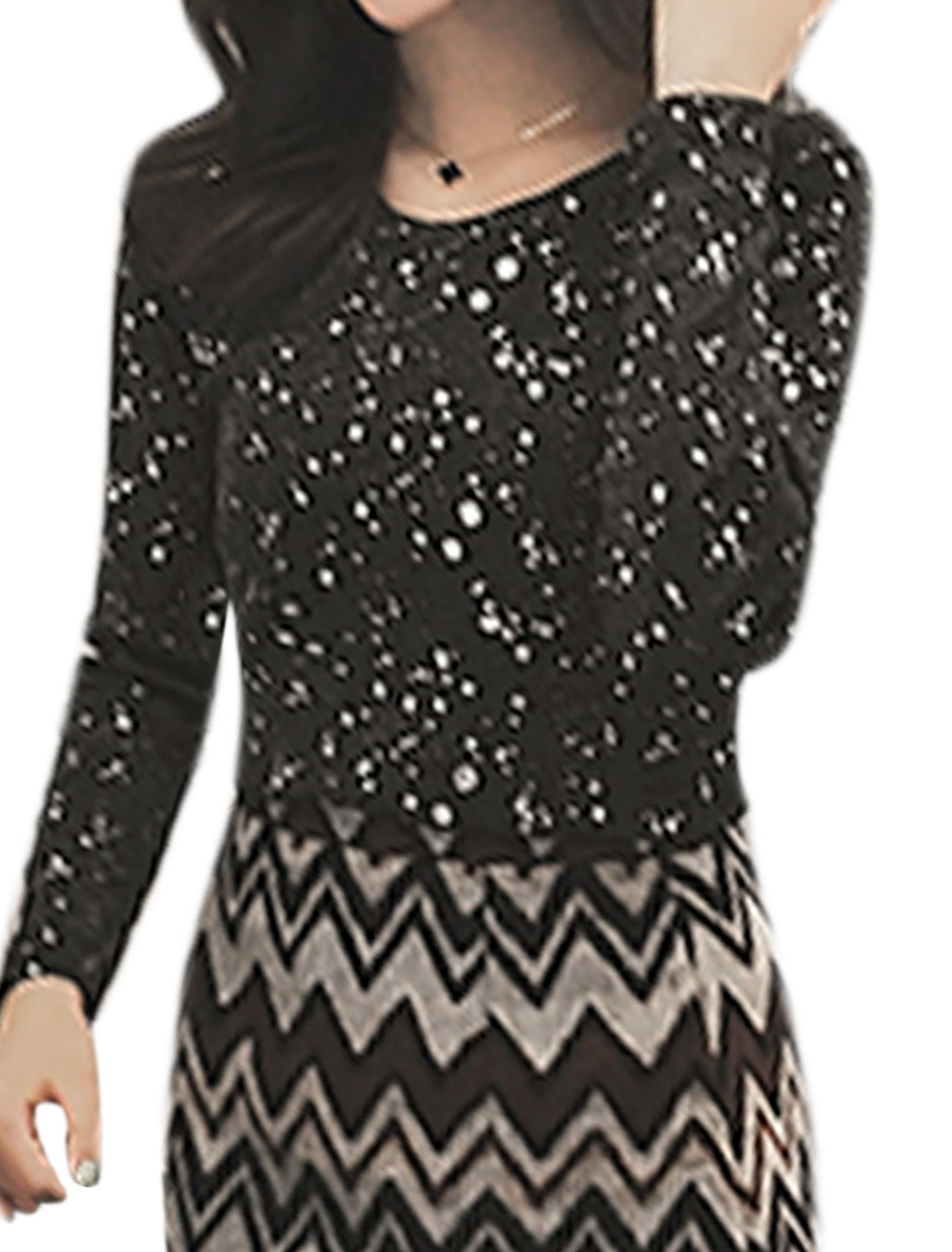 Lady Round Neck Long Sleeves Bling Polka Dots Pattern Pullover Tops Black XS