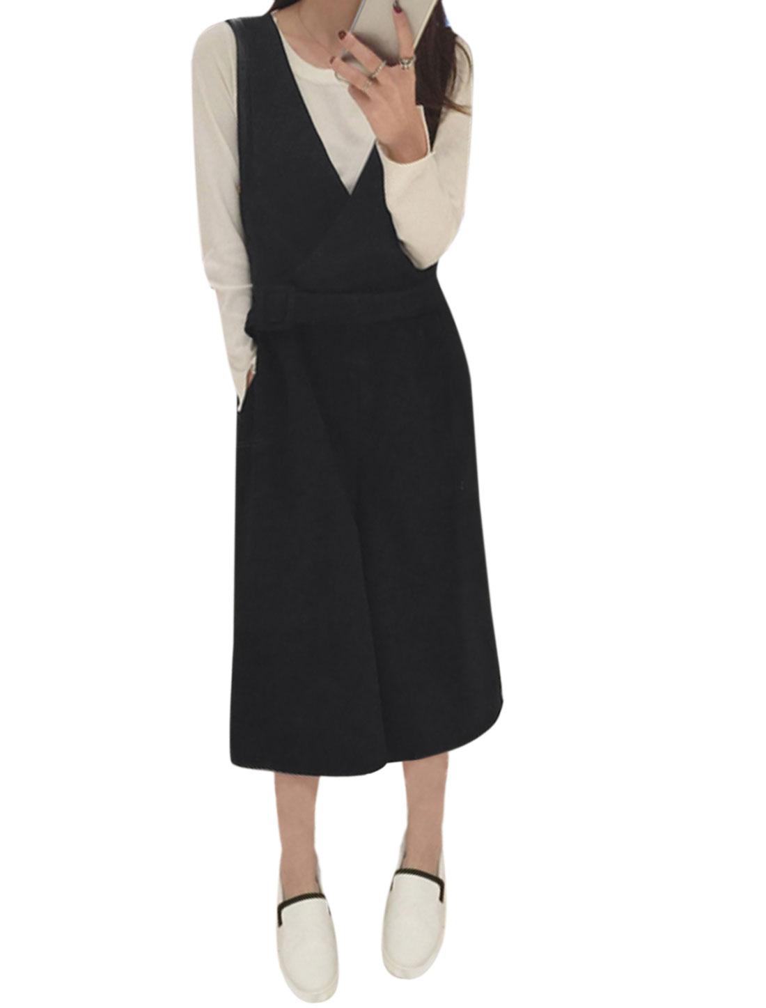 Lady Crossover V Neck Sleeveless Wide Leg Cropped Jumpsuit Black XS