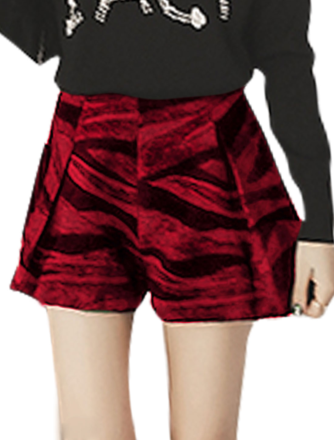 Lady High Waist Novelty Prints Contrast Color Worsted Shorts Red M