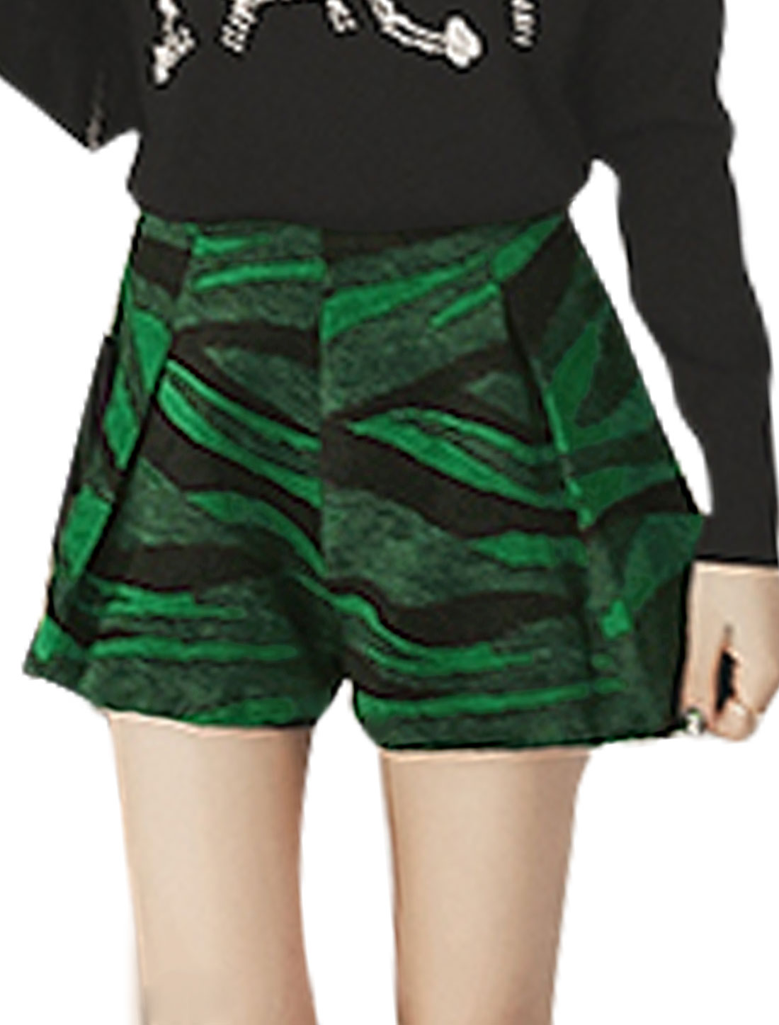 Lady Novelty Pattern Contrast Color Casual Worsted Shorts Green M