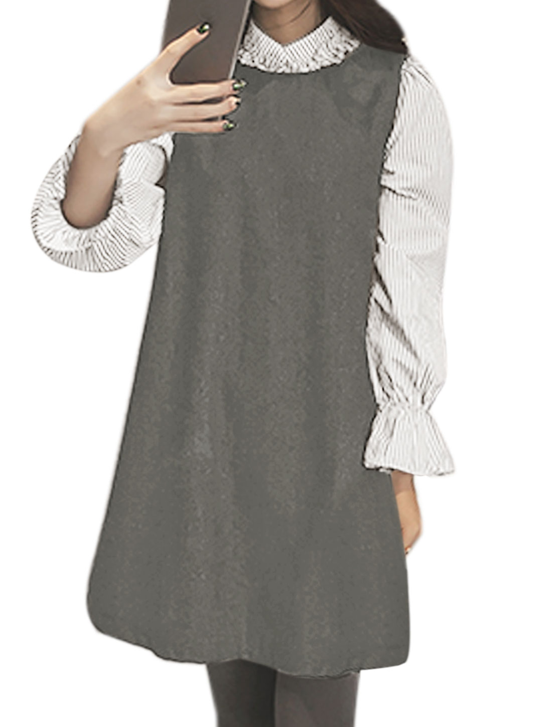 Women Stand Collar Stripes Print Shirt w Worsted Tunic Dress Sets Gray XS