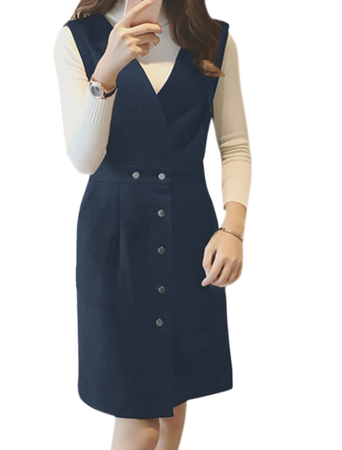 Women Sleeveless Button Closure Slim Fit Wortsed Suspender Skirt Blue M